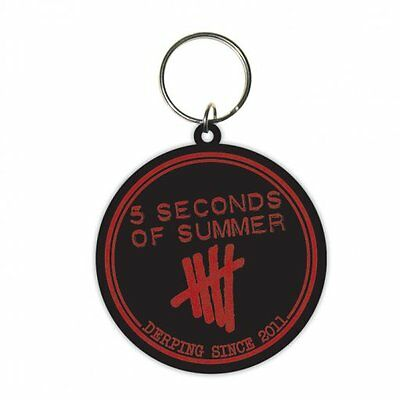 5 SECONDS OF SUMMER derping 2014 - circular RUBBER KEYCHAIN official merchandise