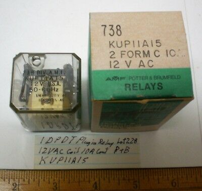1 New Plug-In Relay DPDT,12VAC Coil,10A Cont. Potter Brum.#KUP11A15, Lot 228 USA