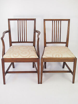 Pair Antique Edwardian Mahogany Chairs - Carver Open Armchair Side Desk Chair