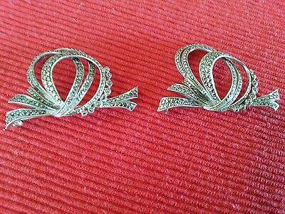 vintage rare pair of sterling silver marcasite brooches,stamped sterling silver