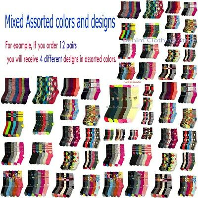 6~20dz Women's Mixed Printed Assorted Color Crew Socks Winter Wholesale Lot 9-11