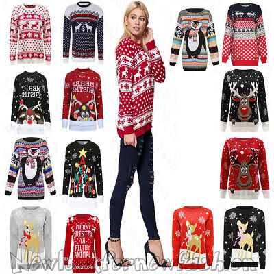 New Ladies Christmas Tunic Jumper Womens 2017 Novelty Xmas Knitted Retro Sweater