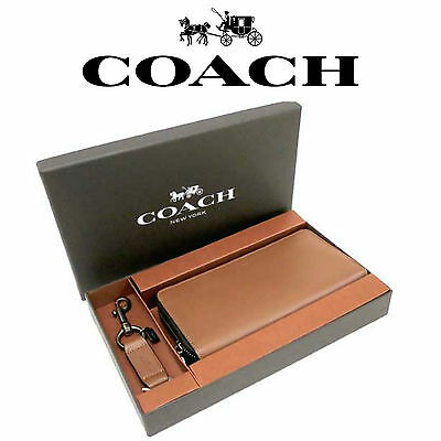 Brand New Genuine COACH New York Wallet/Keyring brown leather GIFT SET RRP £395