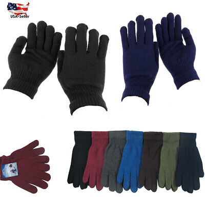 12 Pairs Men's Winter Solid Warmer Knit Knitted Casual Gloves Stretch One Size