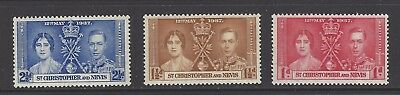 ST. CHRISTOPHER and NEVIS, ST.KITTS  # 76-78  KING GEORGE VI ROYAL CORONATION