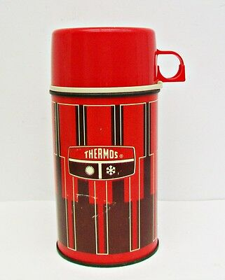 Vintage 8 Ounce Thermos KING-SEELEY Bottle No. 2810 RED BLACK Geometric EUC