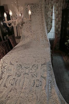 Antique Edwardian early 20C Elaborate Italian needlelace tablecloth 72 X 225