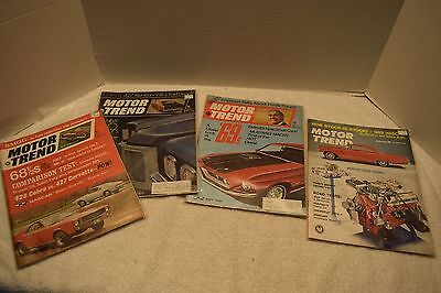 Vintage Lot Of 4 Motor Trend Magazines, 1963/68