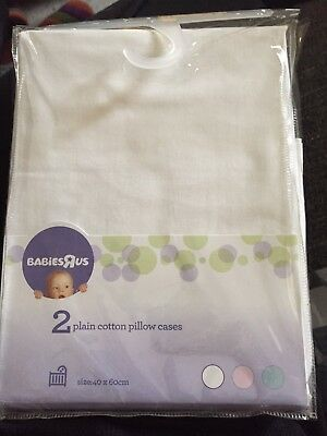 2 Plain Pillows Case For Baby White Babies r us Brand  40cm x 60cm