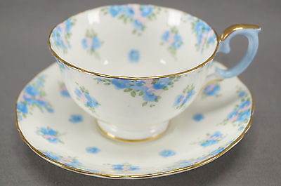 Vintage Crown Staffordshire 714895 Pattern Blue Floral Tea Cup & Saucer