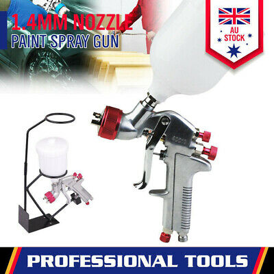 Gravity Paint Spray Gun HVLP 1.8mm Nozzle 600ml Pot With Stand Holder Touch Up