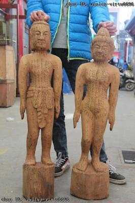Old Wood Carved Traditional Chinese Medicine acupuncture human body point Statue