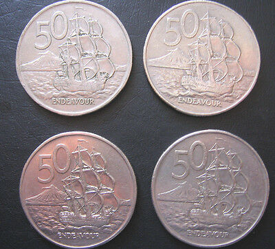 Four New Zealand 50 cent Round Coins 1967,1982,2X 1988