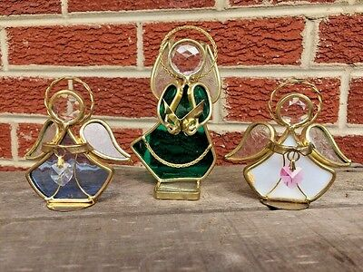 Vintage Stained Glass Crystal Prism ANGEL Tealight Holder Fit Yankee Candle SET