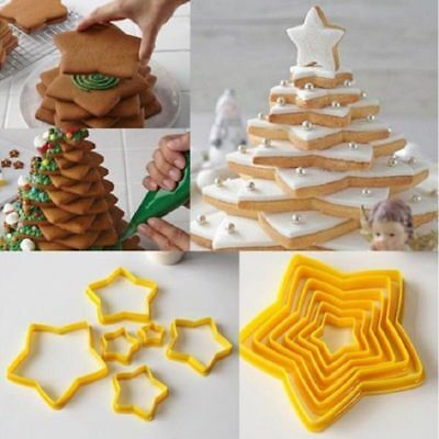 6pcs 3D Christmas Tree Five-pointed Star Cookies Cutter Baking Cake Mold New