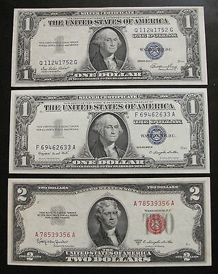 MIX LOT OF 3 x $1 & $2 US NOTES & SILVER CERTIFICATES XF / AU #A25