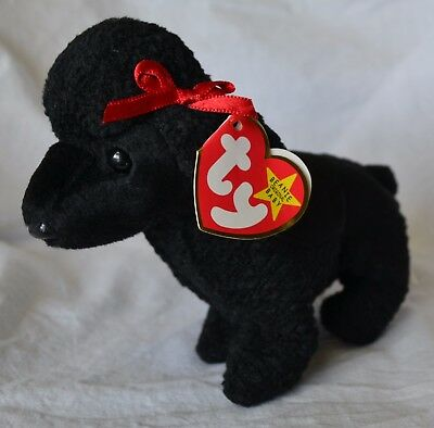 5f448b36ab6 Beanie Babies GiGi Black Poodle 1997 Red Bow Plush Baby NEW w  Tags Retired
