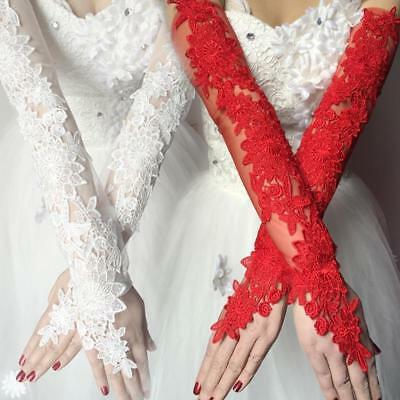 2018 ivory/Red Lace Bridal Glove Wedding Party Pageant Long Gloves  Fingerless