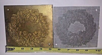 Christmas Holiday Wreath with Bows and Bells Brass Embossing Plates Set