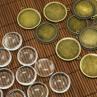10 Sets Antique Bronze Photo Pendant Blanks Round DIY Setting & 25mm Glass Cover