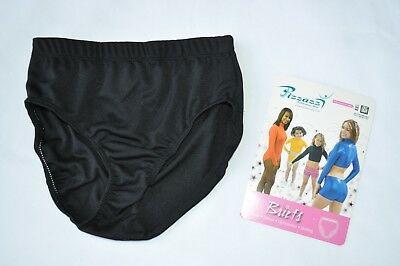 NEW Pizzazz Girl's Youth Large 12-14 Black Cheer Dance Brief Trunk Underpants
