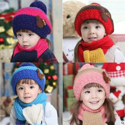 Stylish Winter Warm Soft Beanie Scarf Hat Set For Kids Toddler