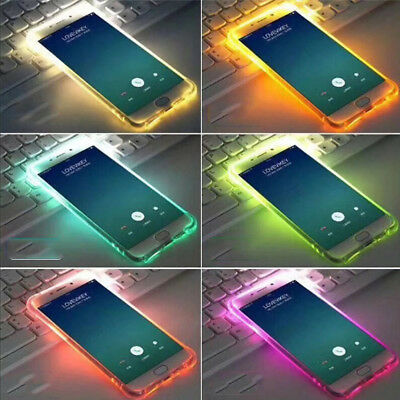 Shockproof Rubber Soft TPU Silicone LED Light Up Clear Case Cover For Samsung