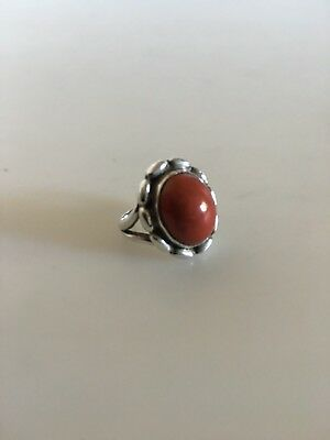 Georg Jensen Silver Ring No. 19 with Coral