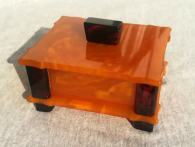 Vintage Amazing Art Deco Yellow & Cherry Red Amber Bakelite Catalin Jewelry Box
