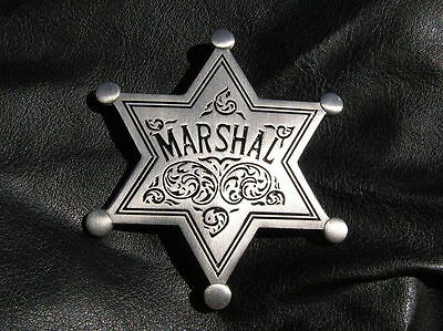 MARSHAL BADGE - OLD WEST - HIGH QUALITY Silver Plated - Sheriff