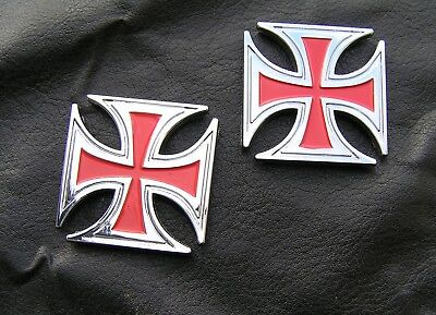 MALTESE CROSS PAIR RED EMBLEMS Small Chrome Metal Badges *NEW!* Harley Davidson