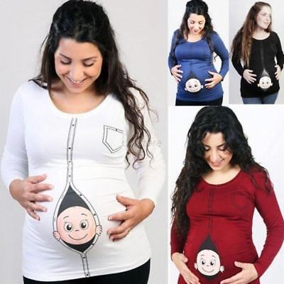 AU Women Maternity Pregnant T-shirts Cotton Tops Funny Print Funny Cartoon Baby
