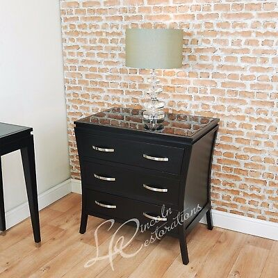 RV Astley Modena Black Chest of 3 Drawers With Beveled Glass Top Contemporary