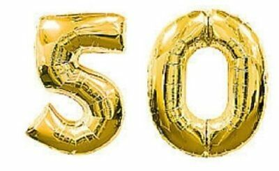 Large Number 50 Gold Balloons 50th Birthday Anniversary Party Foil Decoration