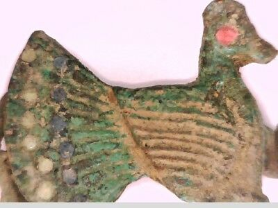 Roman Bronze Fibula Brooch Turkey Bird Cloth decorating color clip Pin Antique