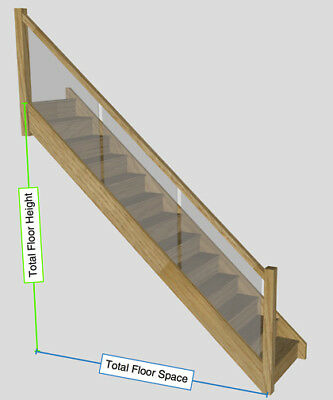 White Oak Staircase With Embedded Glass Balustrade to your sizes