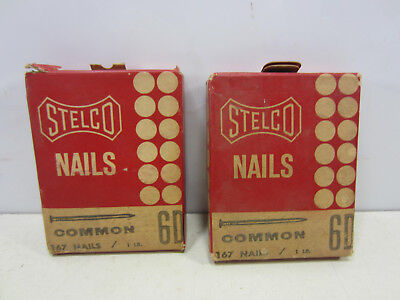 2 Vintage Stelco 6D Common Nails in Unopened Boxes