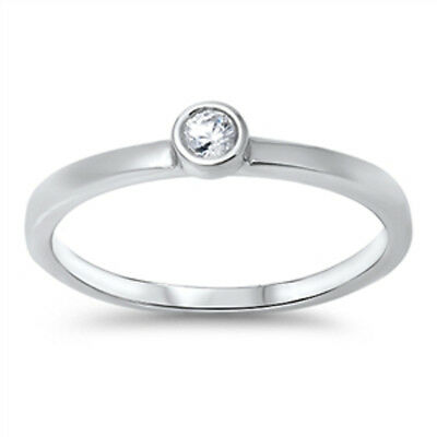 925 Sterling Silver Bezel Bezet Set Cubic Zirconia CZ Solitaire Stacking Ring
