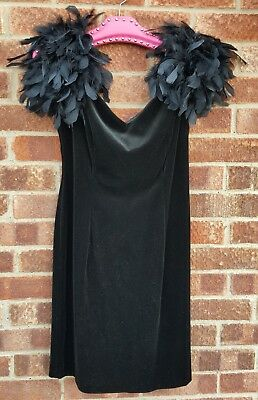 Vintage 80s 90s Black cocktail wiggle feathers shoulder dress 12 14 LBD