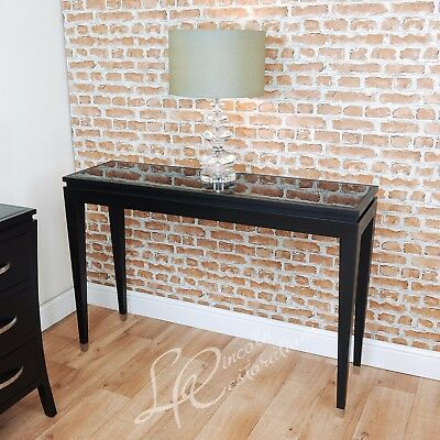 RV Astley Modena Black Console Table Beveled Glass Top Contemporary 2ND Class