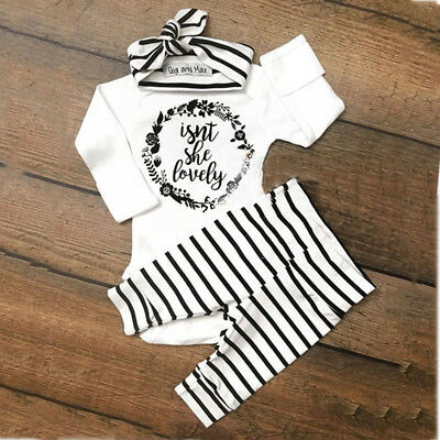 3x Newborn Infant Baby Girl Outfits Clothes Set Bodysuit Pants Leggings Headband