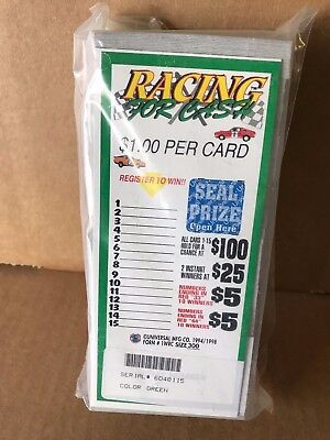 """""""Racing 4 Cash"""" 1 Window Pull Tab 300 Tickets Payout $250    MADE IN THE USA"""
