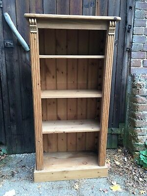 Rustic Solid Pine Tall Bookcase Antique Style