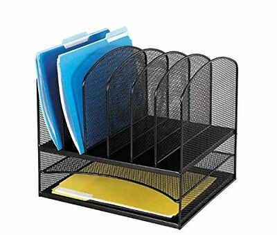 Safco Products 3255BL Onyx Mesh Desktop Organizer with 6 Vertical/ 2 Horizontal