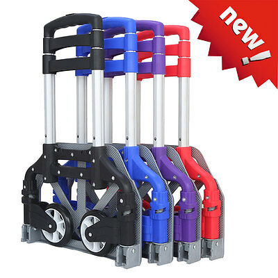 Hand Trolley Portable 170lbs Luggage Cart Folding Dolly Push Truck Collapsible
