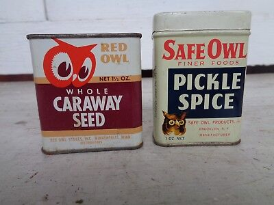 2 Vintage Red Owl Safe Owl Spice Tin Can Advertising Kitchen Graphic Sign