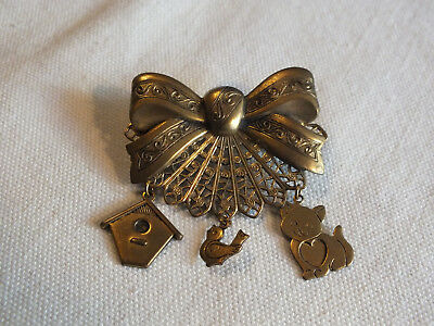 Beautiful Collectible Brooch Pin Brass Tone Filigree Bow Dangling Bird House Cat