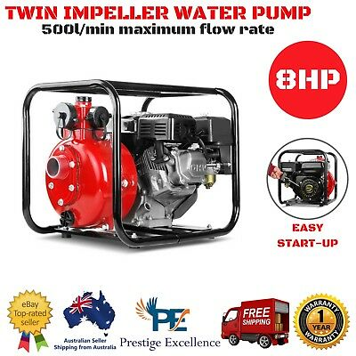 8HP Twin Impeller Water Pump High Pressure Heavy Duty Rust Resistant 8M Suction