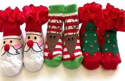 BABY CHRISTMAS SOCKS Girl Boy Santa Reindeer Tree NEWBORN Present Gift Love Cute