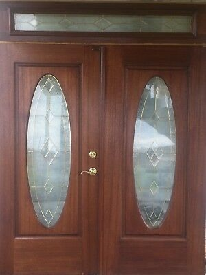 Beautiful Oak Double Door with Oval Cut Glass and Matching Transom